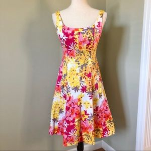 Jones Wear Bright Floral Fit to Flare Dress